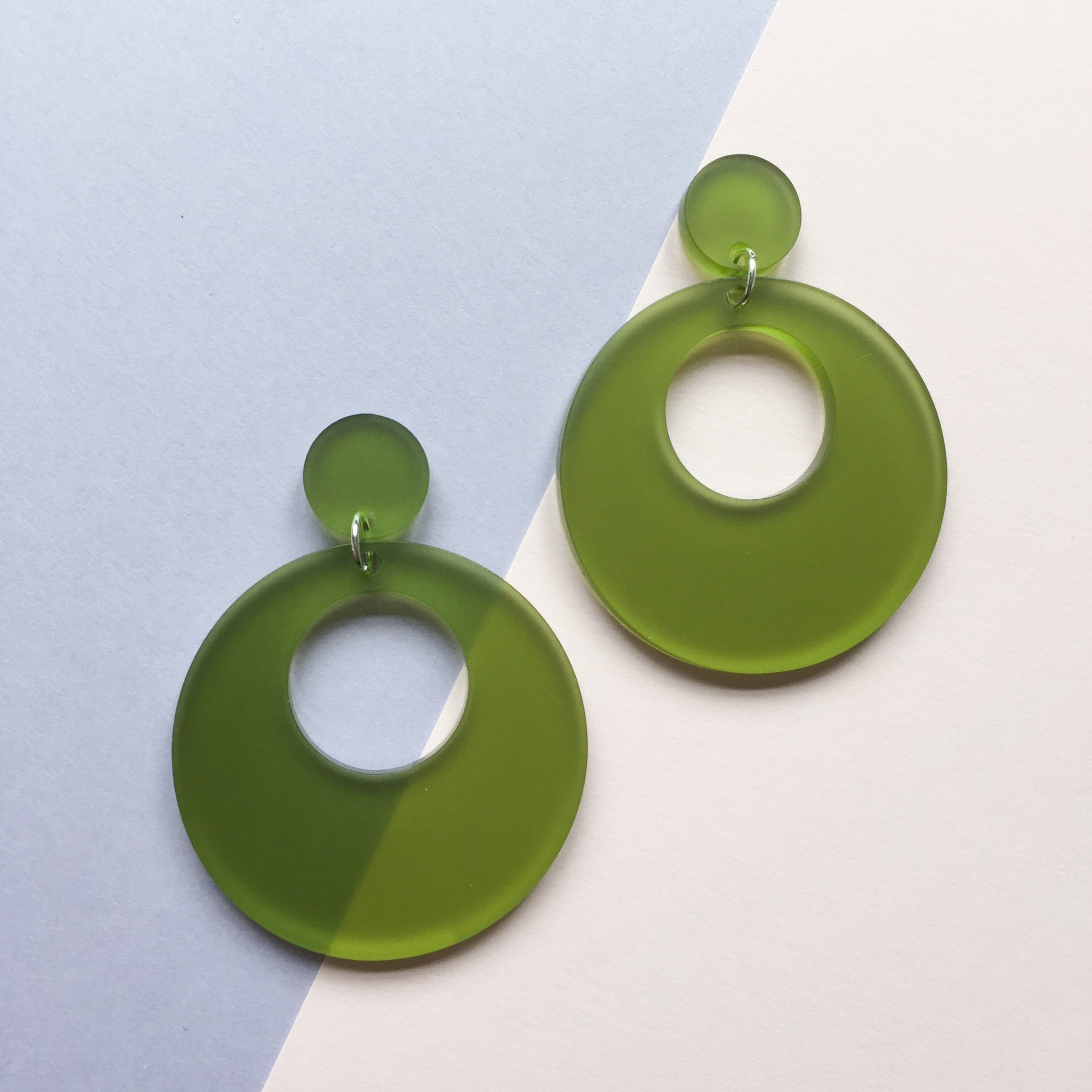 Mod Inspired Stud Hoop Earrings - Frosted Green
