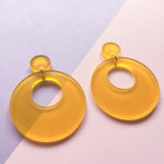 Load image into Gallery viewer, Mod Inspired Stud Hoop Earrings - Frosted Yellow