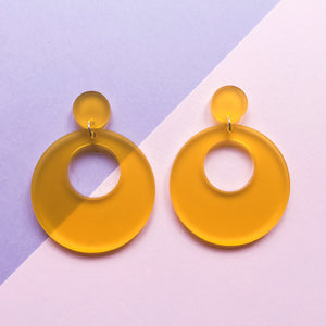 Mod Inspired Stud Hoop Earrings - Frosted Yellow