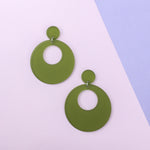 Load image into Gallery viewer, Mod Inspired Stud Hoop Earrings - Frosted Green