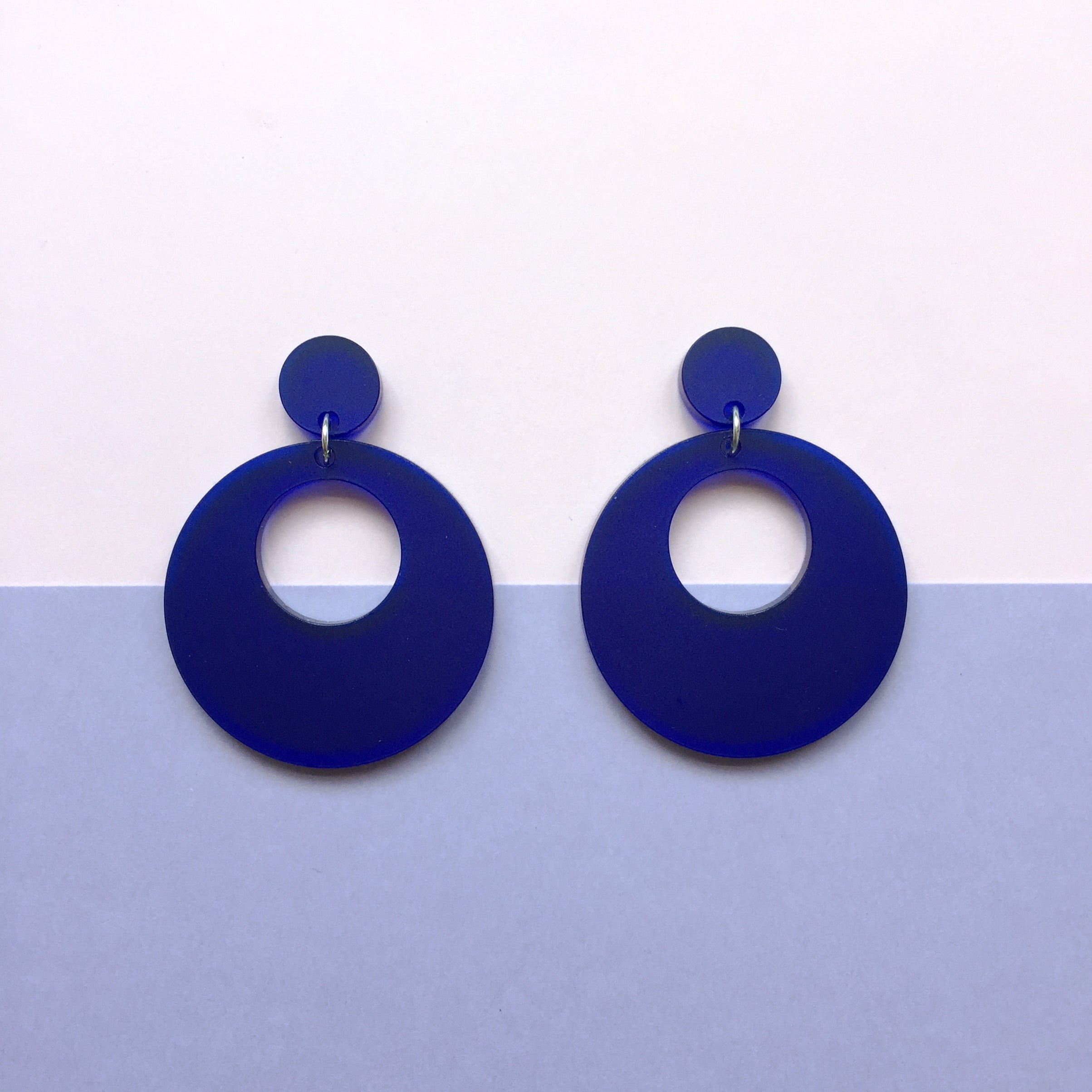 Mod Inspired Stud Hoop Earrings - Frosted Royal Blue