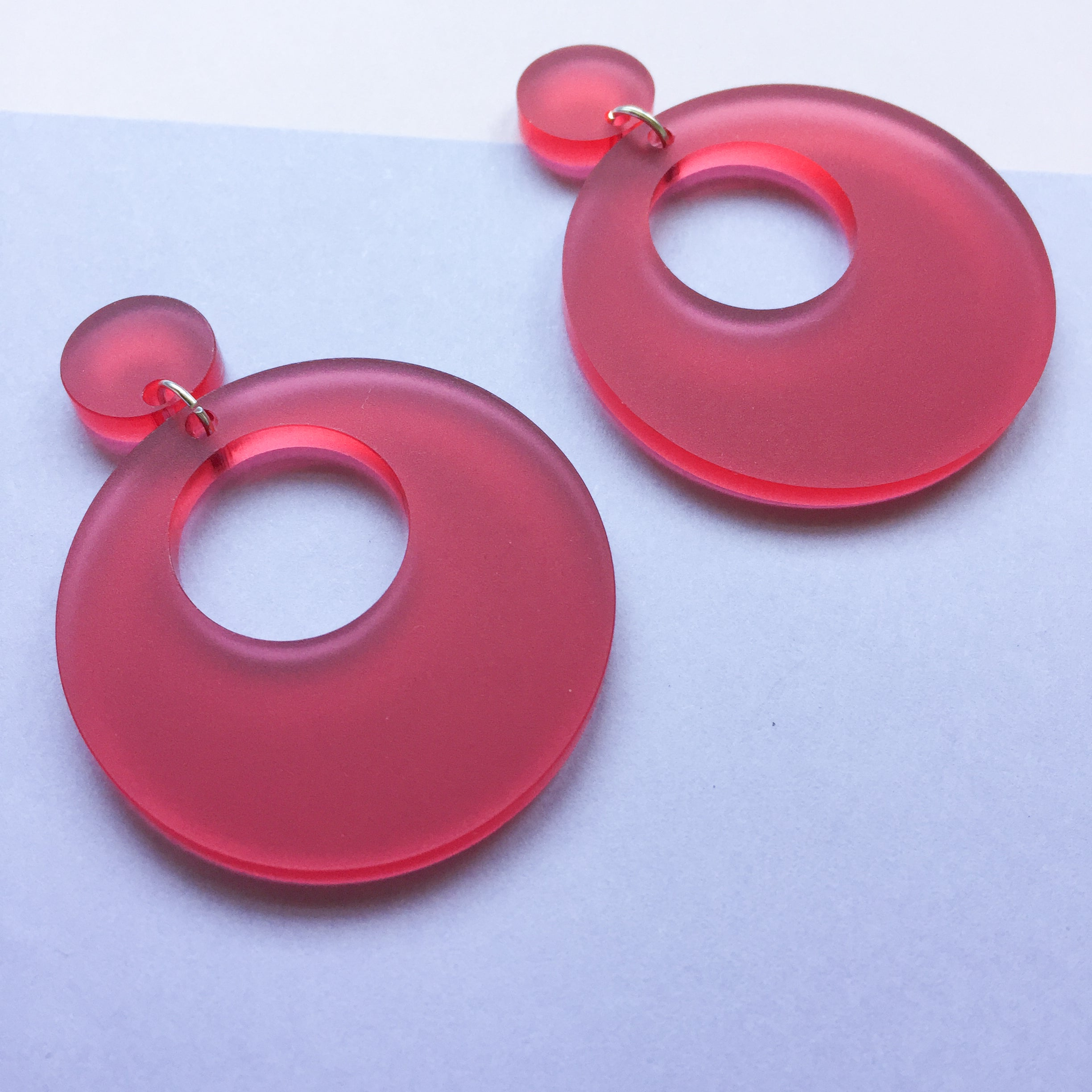 Mod Inspired Stud Hoop Earrings - Frosted Raspberry