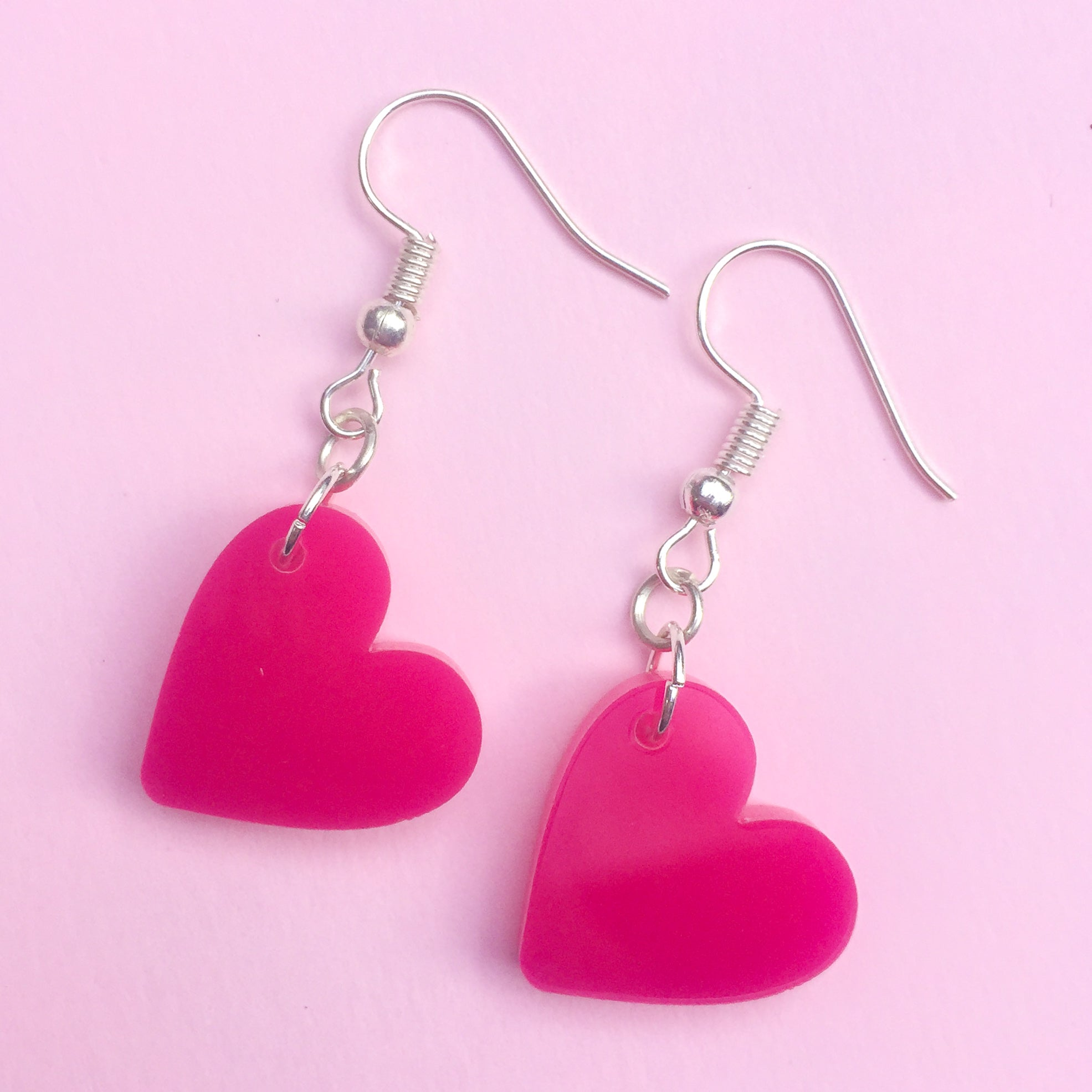 Heart Hook Earrings - Hot Pink