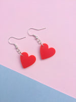 Load image into Gallery viewer, Red Heart Hook Earrings