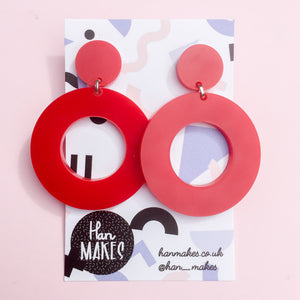 Circle Stud Hoops - Red