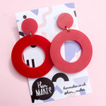 Load image into Gallery viewer, Circle Stud Hoops - Red