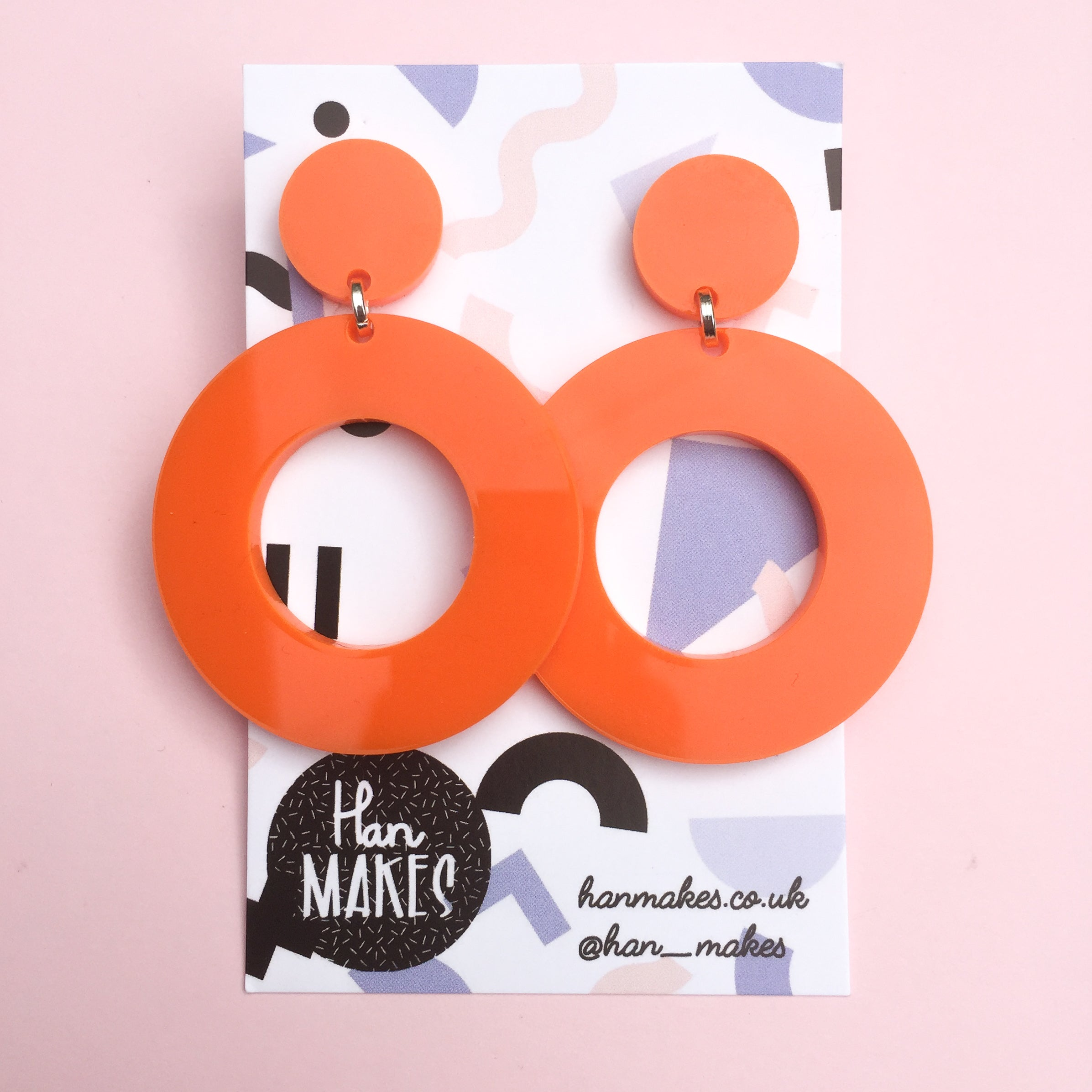 Circle Stud Hoops - Orange