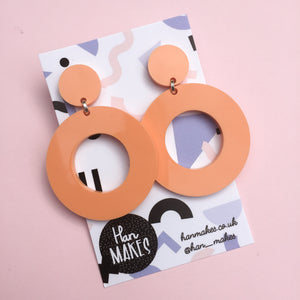 Circle Stud Hoops - Pastel Orange