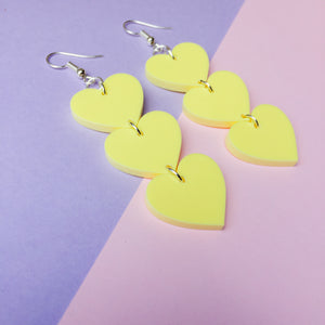 Three Tier Heart Hooks - Pastel Yellow