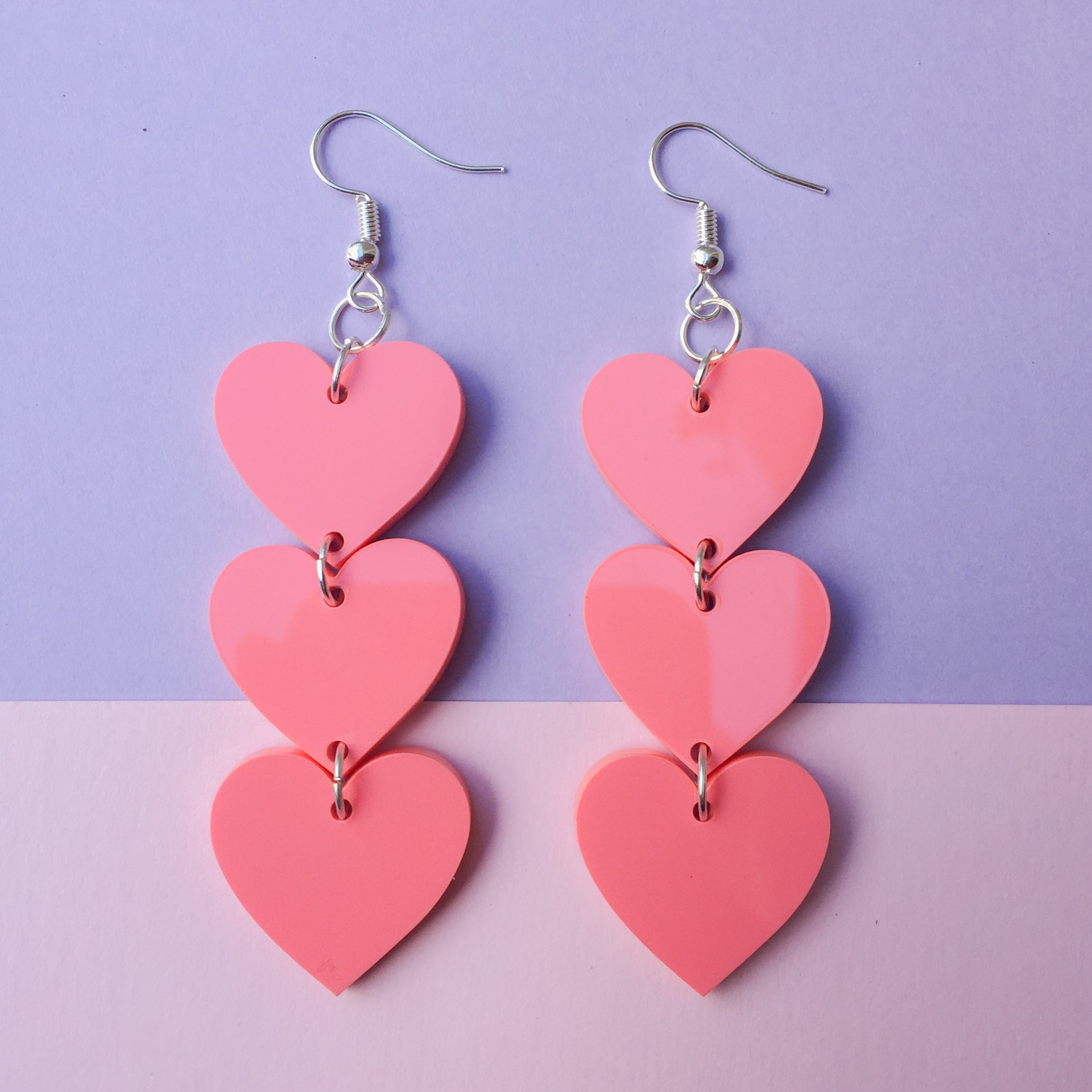 Three Tier Heart Hooks - Coral