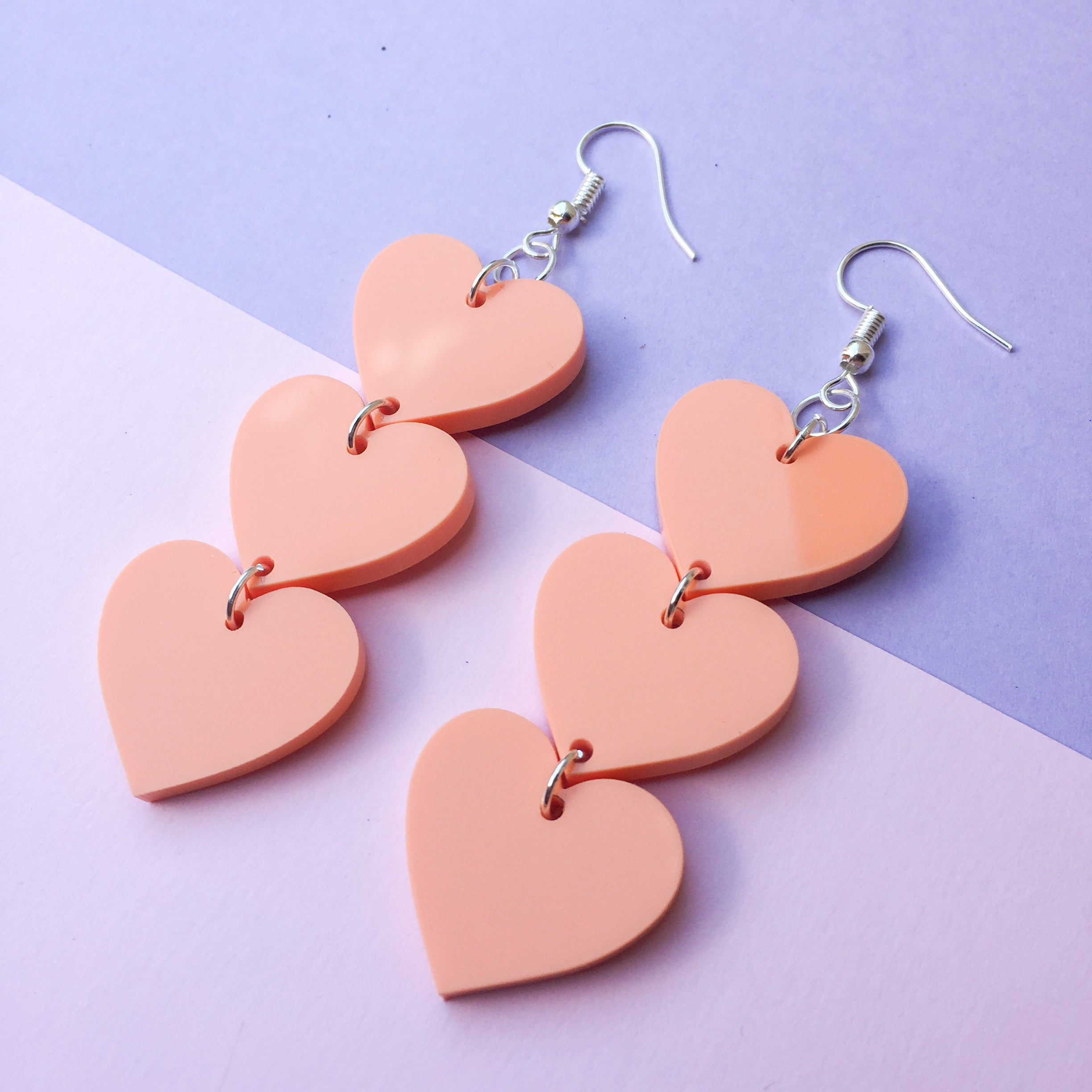 Three Tier Heart Hooks - Pastel Orange