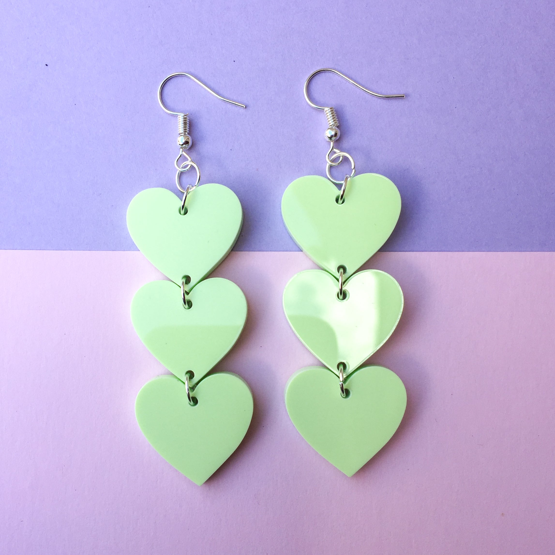 Three Tier Heart Hooks - Pastel Green