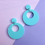 Load image into Gallery viewer, Mod Inspired Stud Hoop Earrings - Turquoise