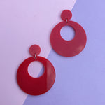 Load image into Gallery viewer, Mod Inspired Stud Hoop Earrings - Red