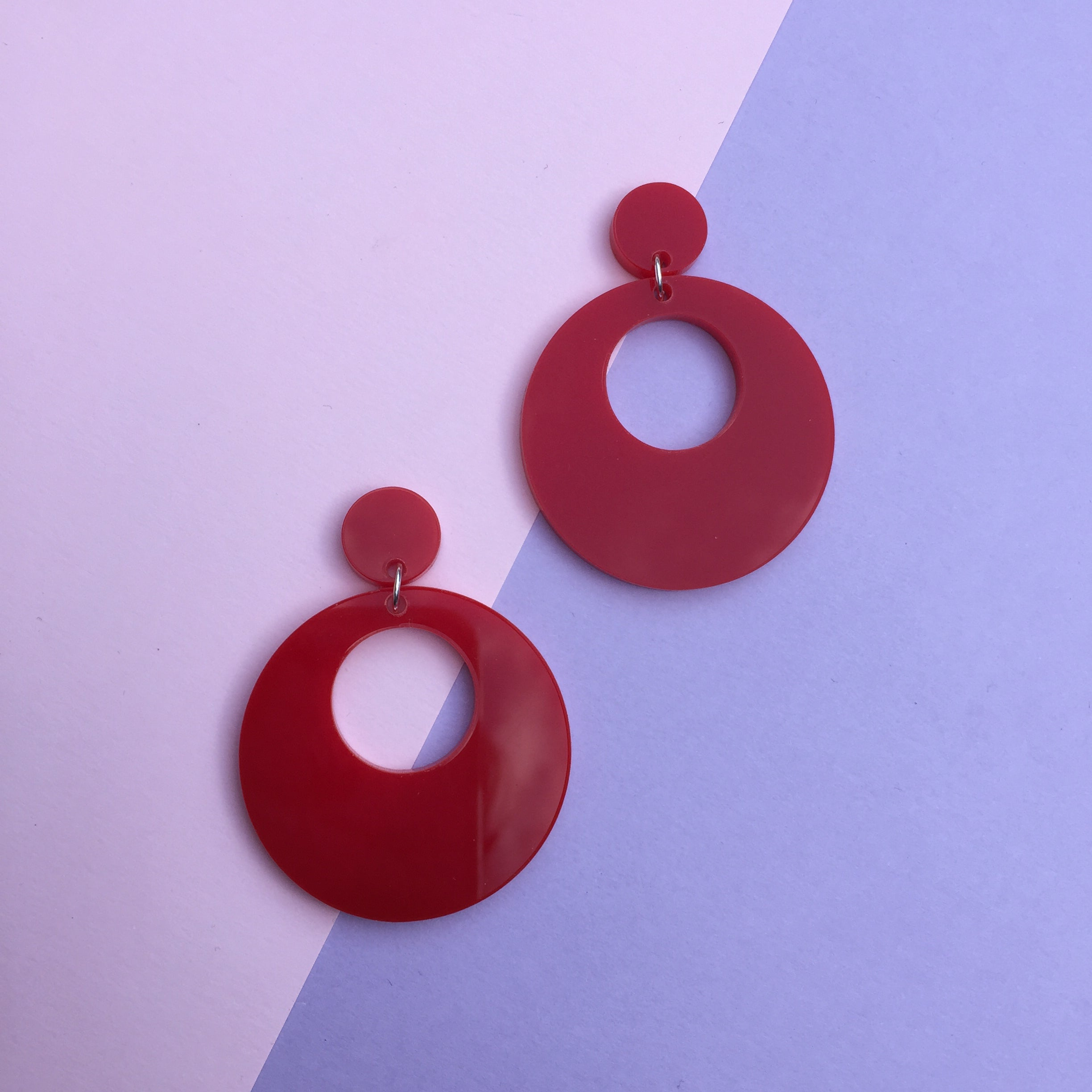 Mod Inspired Stud Hoop Earrings - Red