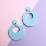 Load image into Gallery viewer, Mod Inspired Stud Hoop Earrings - Pastel Blue