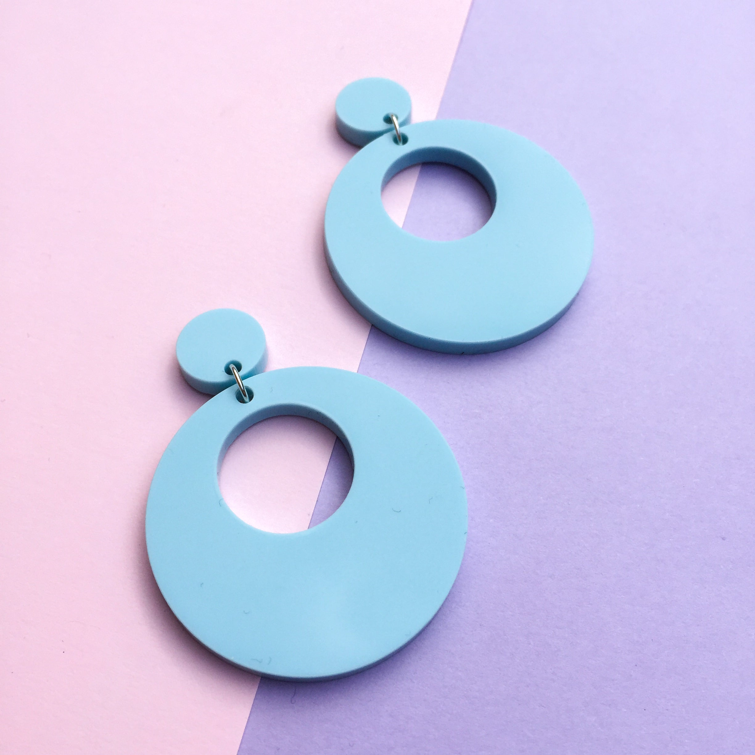 Mod Inspired Stud Hoop Earrings - Pastel Blue