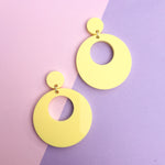 Load image into Gallery viewer, Mod Inspired Stud Hoop Earrings - Pastel Yellow