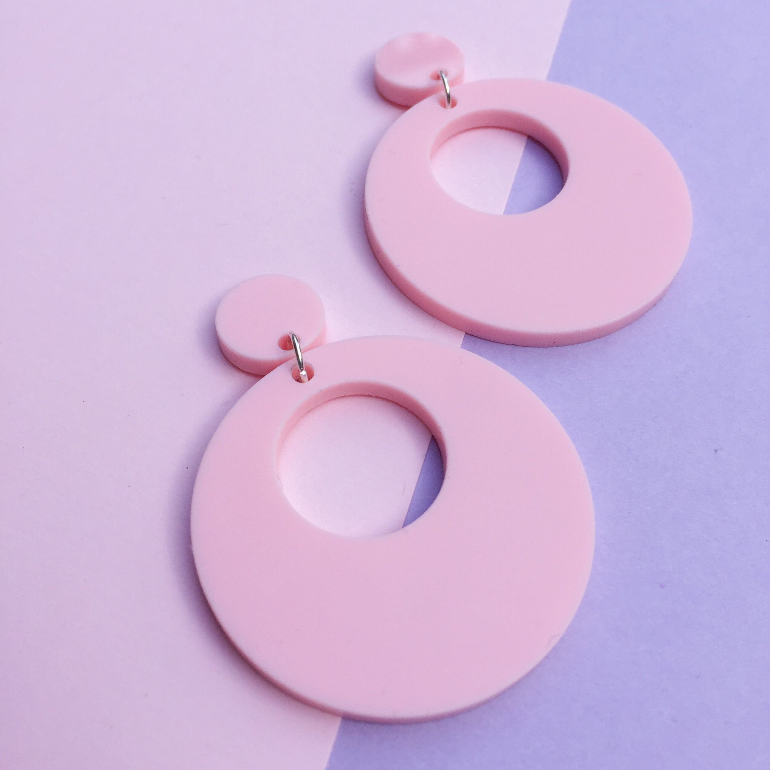 Mod Inspired Stud Hoop Earrings - Pastel Pink
