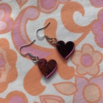 Load image into Gallery viewer, Heart Hook Earrings - Pink Mirror