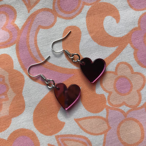 Heart Hook Earrings - Pink Mirror