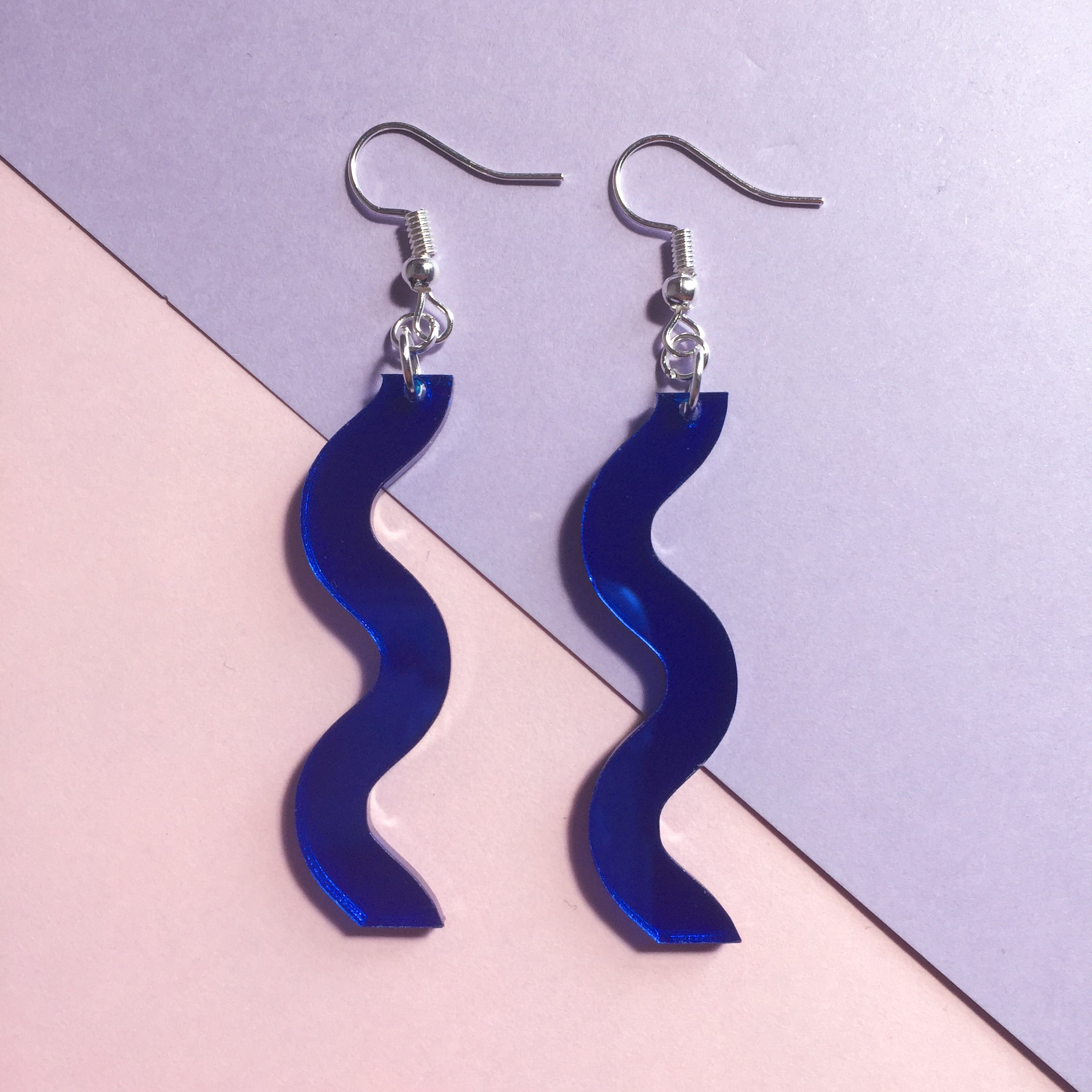 Squiggle Hooks - Mirror Blue