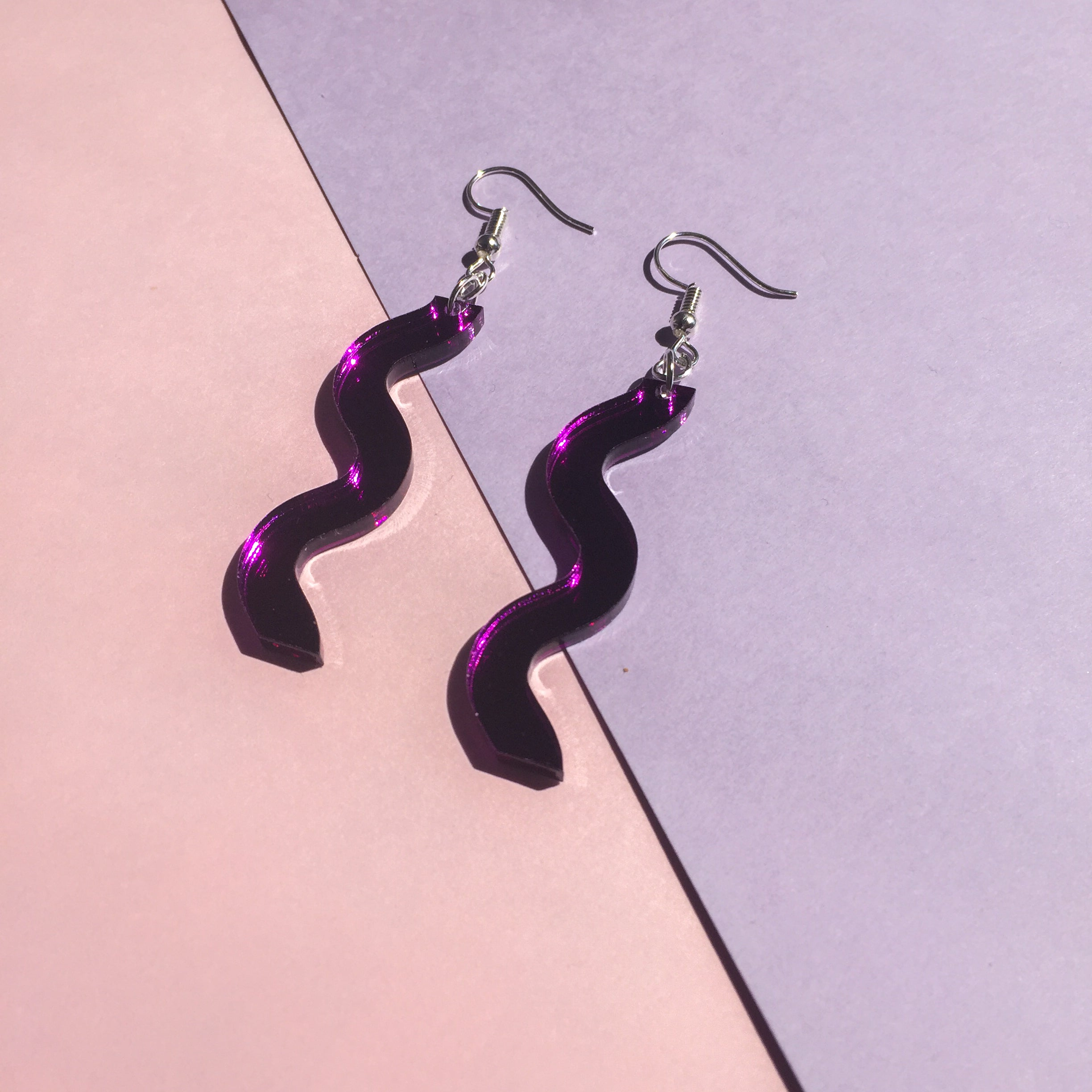 Squiggle Hooks - Mirror Purple