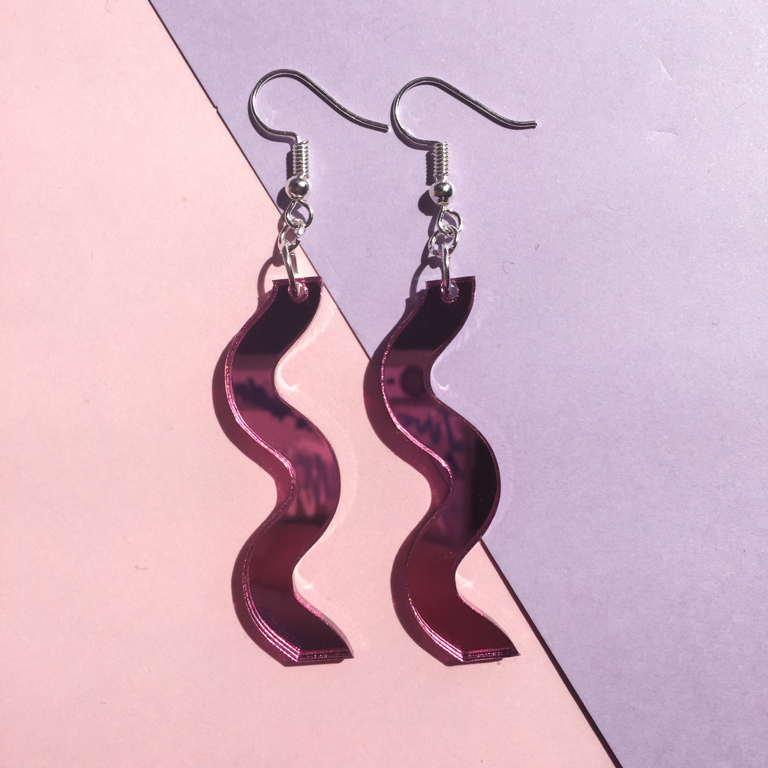 Squiggle Hooks - Mirror Pink