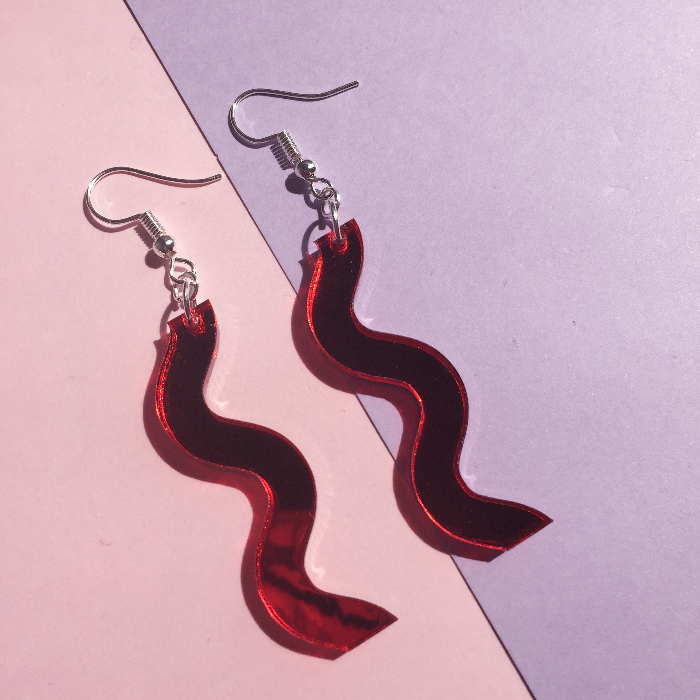 Squiggle Hooks - Mirror Red