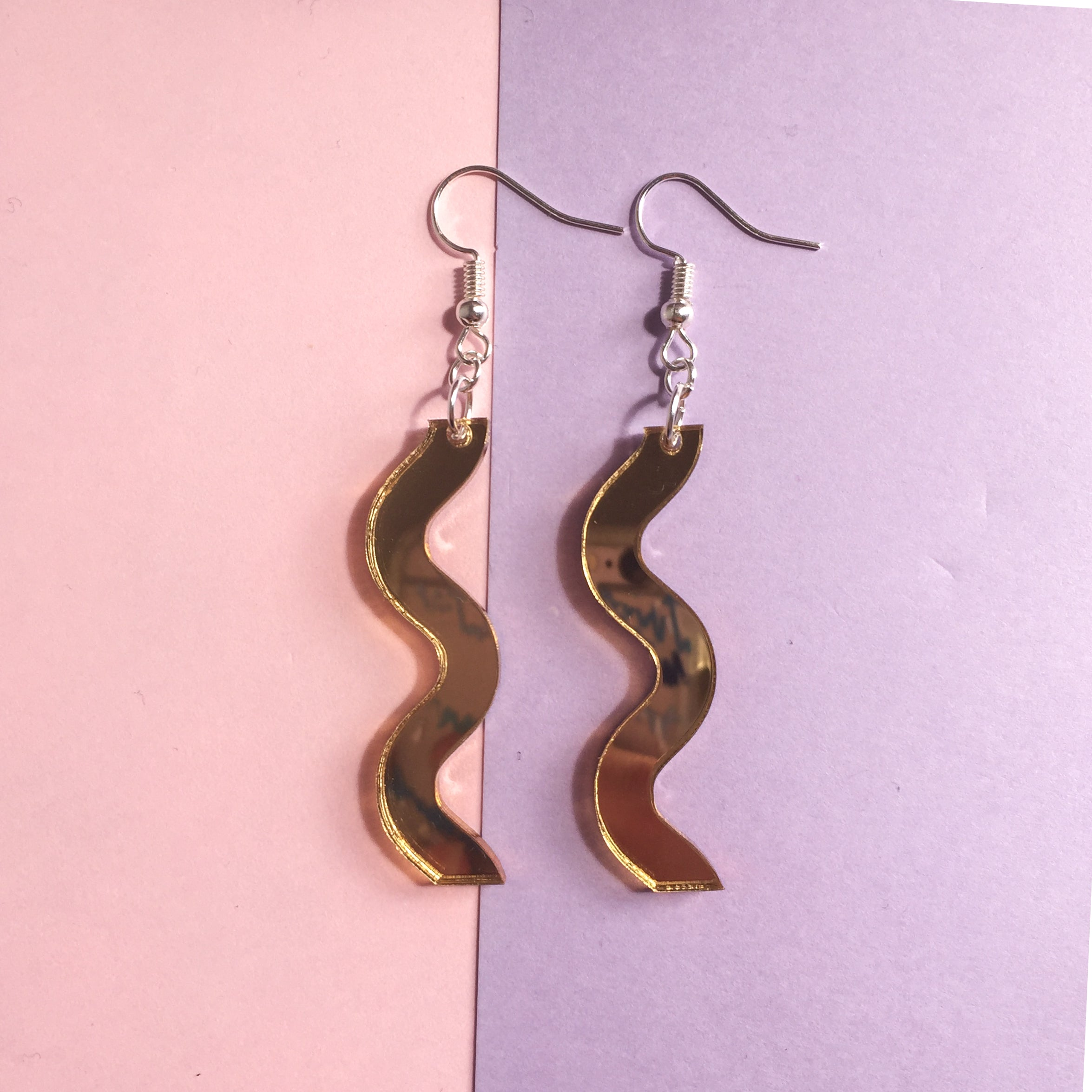 Squiggle Hooks - Mirror Gold