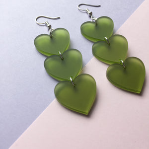 Charity Earrings: Three Tier Heart Hooks - Frosted Green