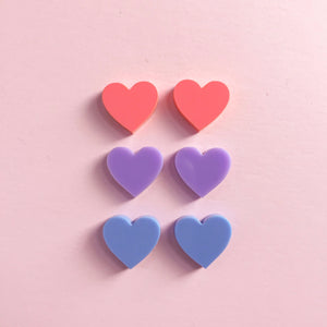 Mini Heart Studs - 9 Colours Available