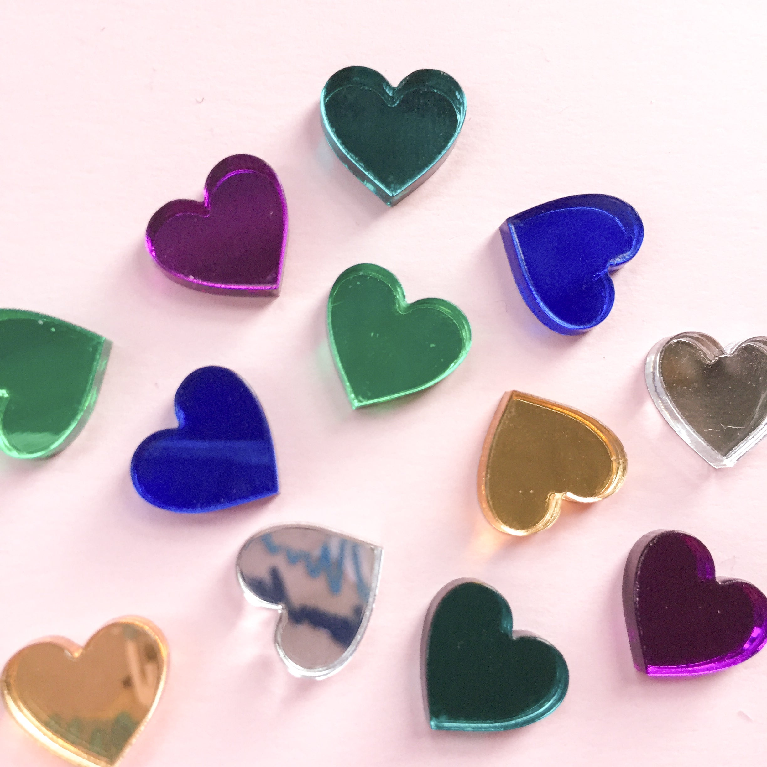 Mirror Mini Heart Studs - 8 Colours Available