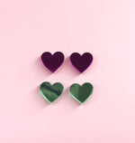Load image into Gallery viewer, Mirror Mini Heart Studs - 8 Colours Available