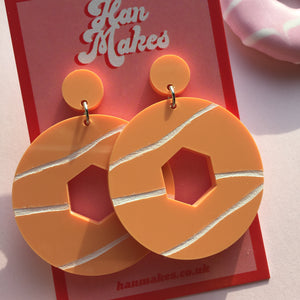 Party Ring Earrings - Pastel Orange