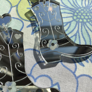 Cowboy Boot Earrings - Mirror Silver