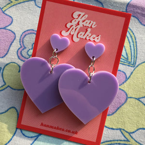 Two Tier Heart Studs - Lilac