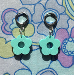 Load image into Gallery viewer, Mini Flower Huggie Hoops - Turquoise