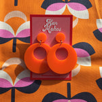 Load image into Gallery viewer, Mod Inspired Stud Hoop Earrings - Orange