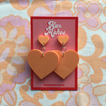 Load image into Gallery viewer, Two Tier Heart Studs - Pastel Orange