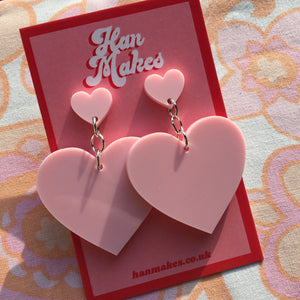 Two Tier Heart Studs - Pastel Pink