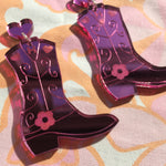 Load image into Gallery viewer, Cowboy Boot Earrings - Mirror Pink