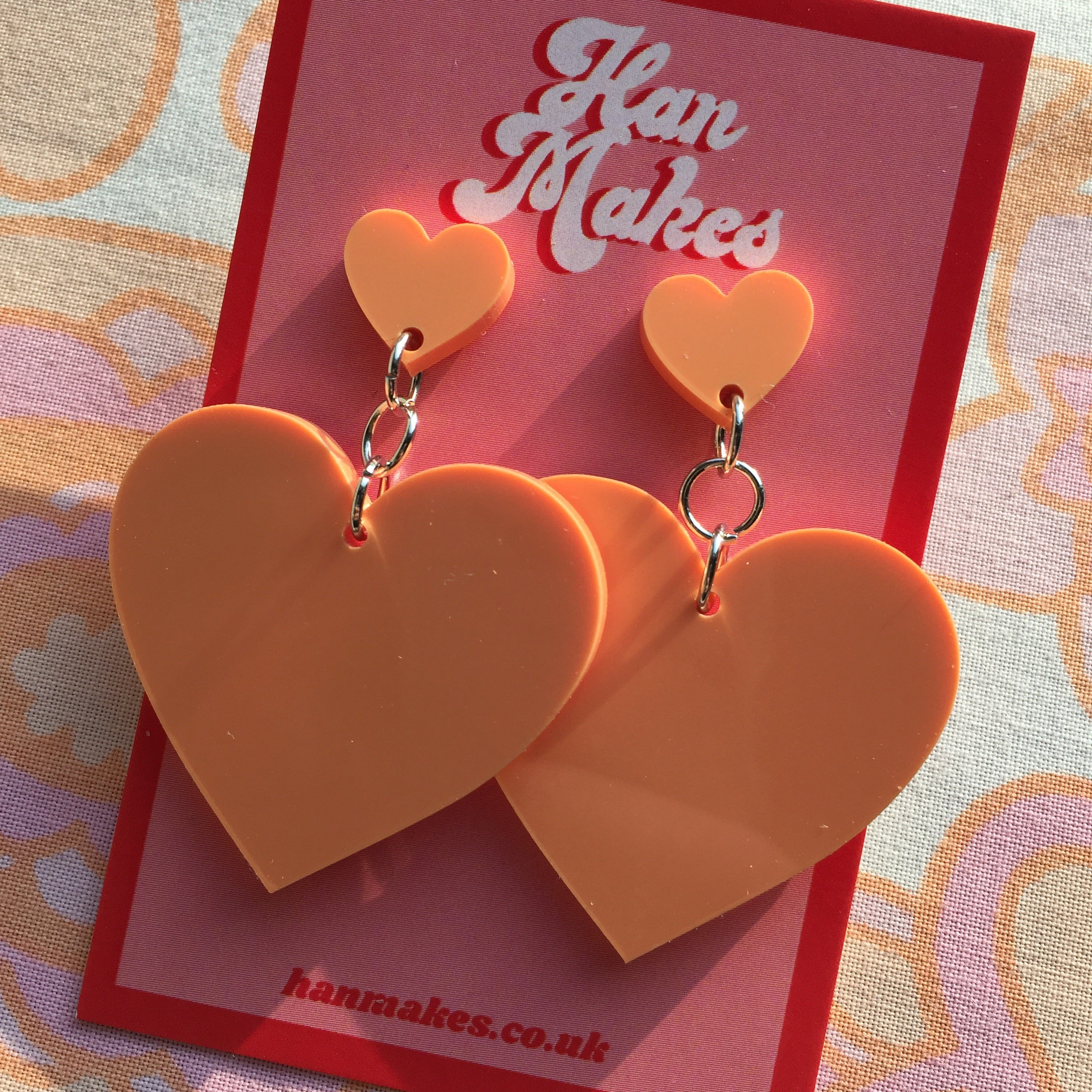 Two Tier Heart Studs - Pastel Orange
