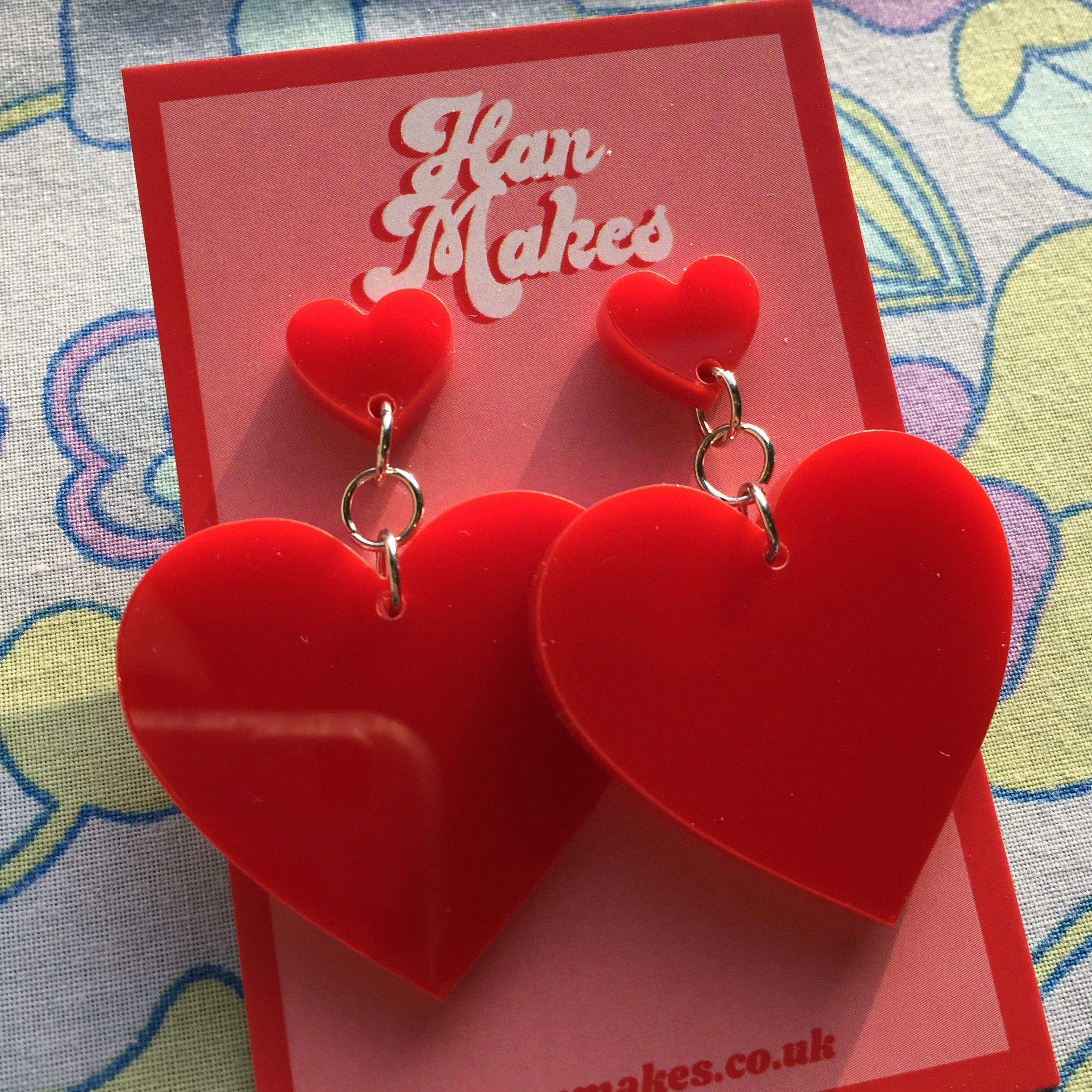 Two Tier Heart Studs - Red
