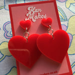 Load image into Gallery viewer, Two Tier Heart Studs - Red