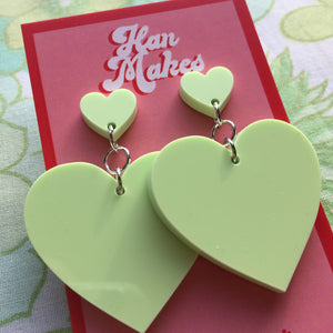 Two Tier Heart Studs - Pastel Green