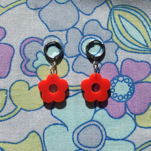 Mini Flower Huggie Hoops - Red