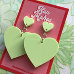 Load image into Gallery viewer, Two Tier Heart Studs - Pastel Green