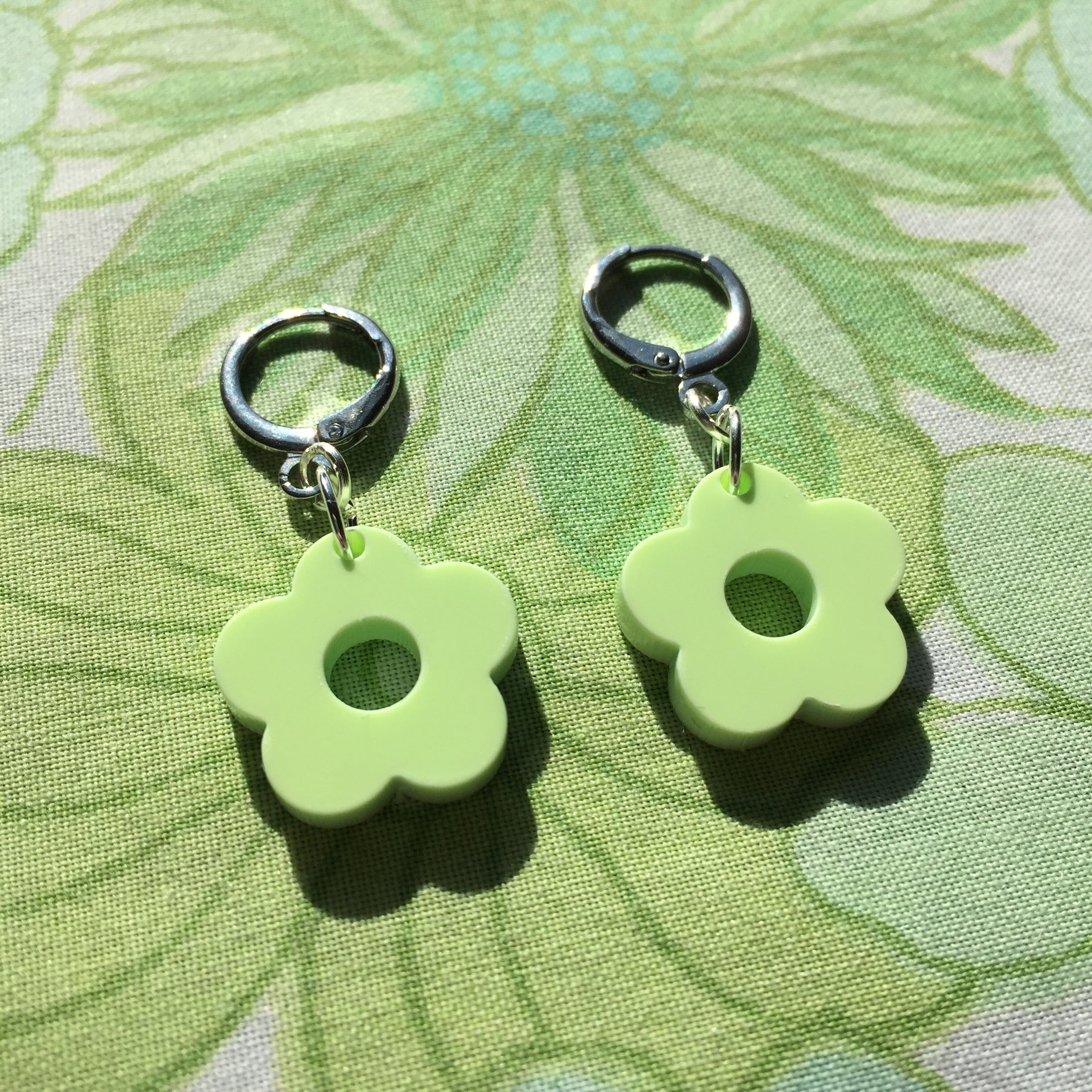 Mini Flower Huggie Hoops - Green