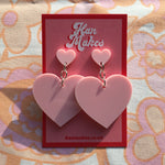 Load image into Gallery viewer, Two Tier Heart Studs - Pastel Pink